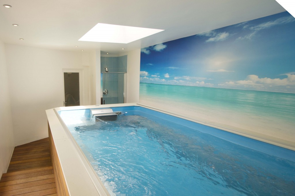Small indoor pool with skylight