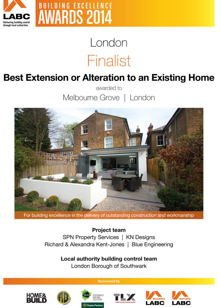 LABC Awards 2014 Finalist - Best Extension or Alteration - Melbourne Grove