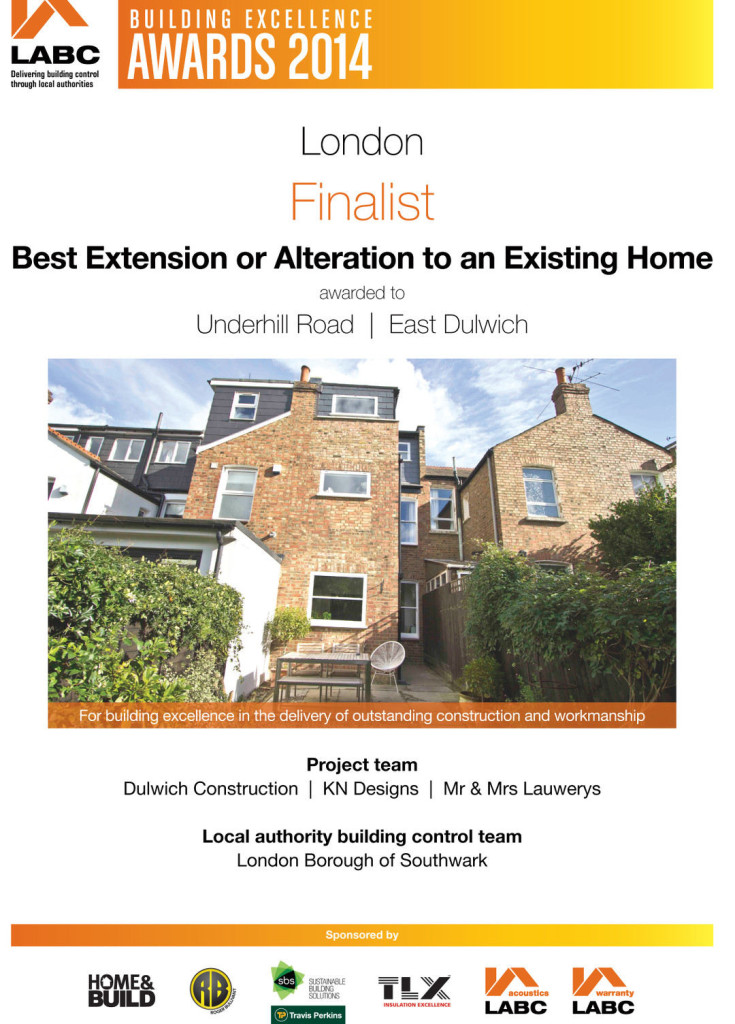 LABC Awards 2014 Finalist - Best Extension or Alteration - Underhill Road