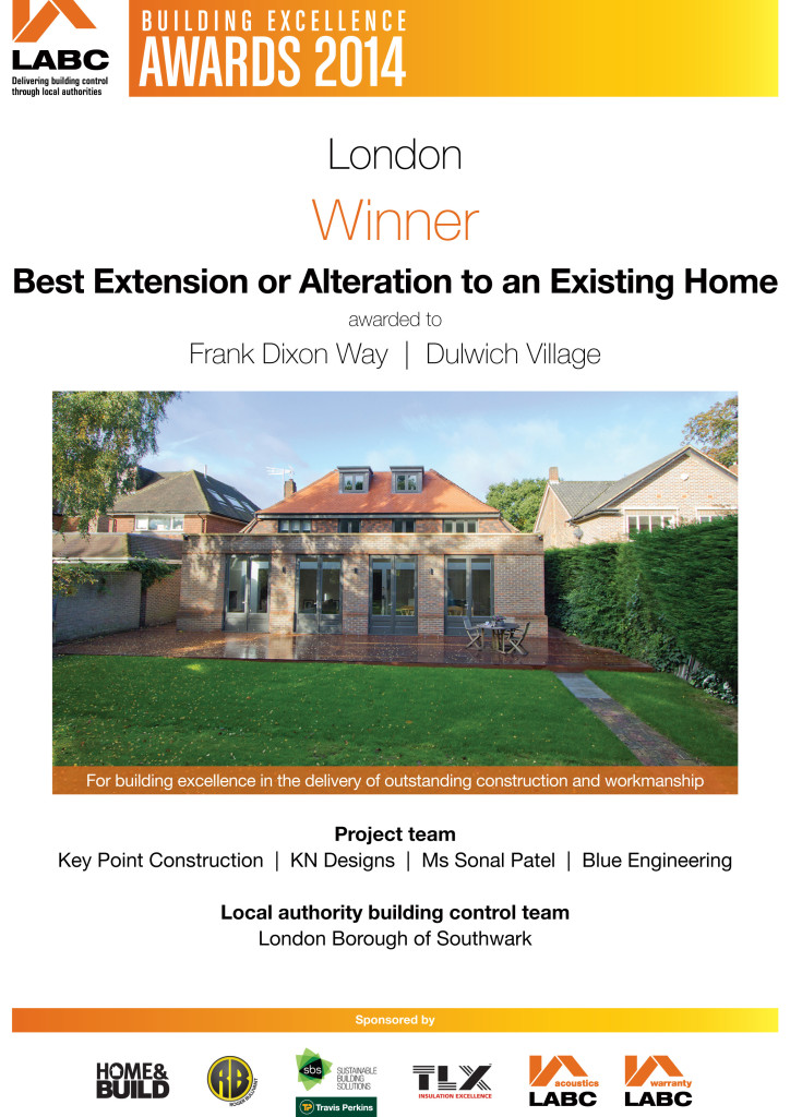 LABC Awards 2014 Winner - Best Extension or Alteration - Frank Dixon Way